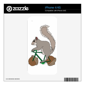 Squirrel Riding Bike With Acorn Wheels iPhone 4 Skin