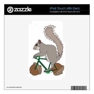 Squirrel Riding Bike With Acorn Wheels iPod Touch 4G Skins