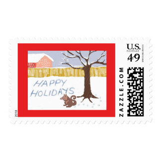 """Squirrel Says """"Happy Holidays"""" Stamp"""