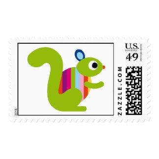 Squirrel Sciuridae Chipmunks Marmots Cute Cartoon Postage Stamp
