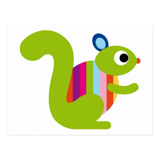 Squirrel Sciuridae Chipmunks Marmots Cute Cartoon Postcard