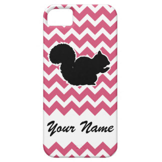 Squirrel Silhouette with Pink Chevron Pattern iPhone 5 Covers
