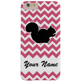 Squirrel Silhouette with Pink Chevron Pattern Barely There iPhone 6 Plus Case