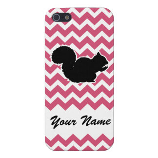 Squirrel Silhouette with Pink Chevron Pattern Case For iPhone SE/5/5s