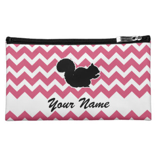 Squirrel Silhouette with Pink Chevron Pattern Cosmetic Bag
