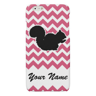 Squirrel Silhouette with Pink Chevron Pattern Glossy iPhone 6 Case