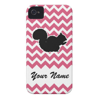 Squirrel Silhouette with Pink Chevron Pattern iPhone 4 Case