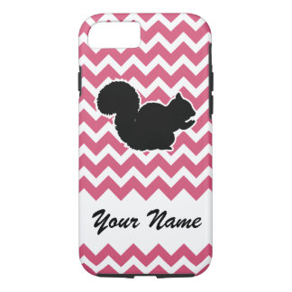 Squirrel Silhouette with Pink Chevron Pattern iPhone 8/7 Case