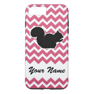 Squirrel Silhouette with Pink Chevron Pattern iPhone 8 Plus/7 Plus Case