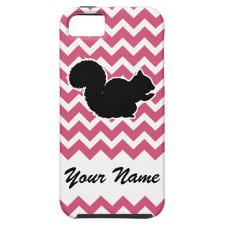 Squirrel Silhouette with Pink Chevron Pattern iPhone SE/5/5s Case