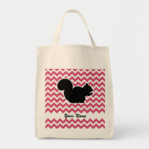 Squirrel Silhouette with Pink Chevron Pattern Tote Bag
