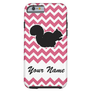 Squirrel Silhouette with Pink Chevron Pattern Tough iPhone 6 Case