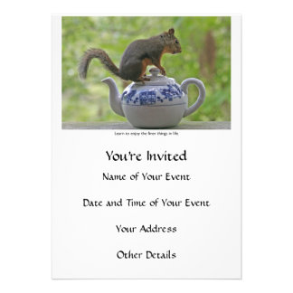 Squirrel Sitting on a Teapot Custom Invites