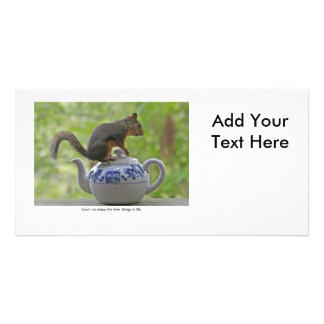 Squirrel Sitting on a Teapot Photo Card Template