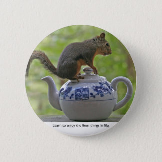 Squirrel Sitting on a Teapot Pinback Button