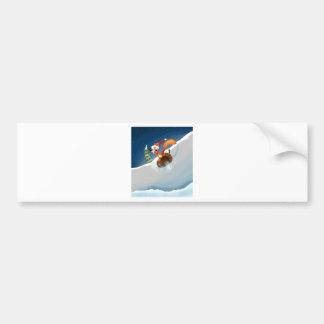 Squirrel Snowboarding Bumper Sticker