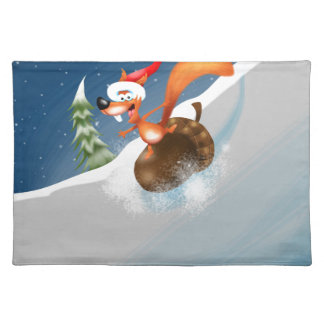 Squirrel Snowboarding Cloth Placemat