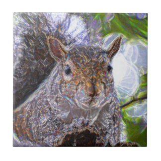 squirrel sparkly face image small square tile