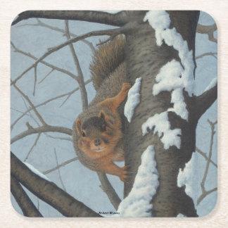 Squirrel Square Paper Coaster