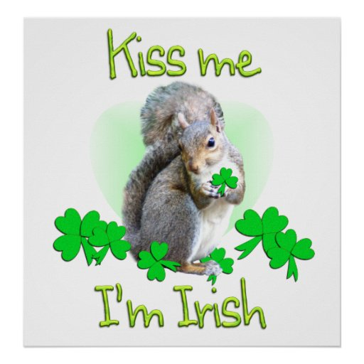Squirrel St. Patricks Day Poster