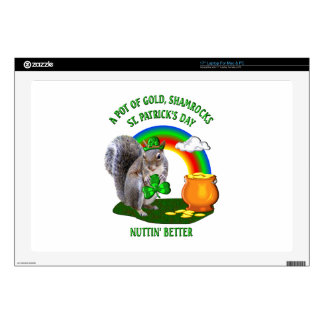 "SQUIRREL St. Patrick's Day 17"" Laptop Decal"