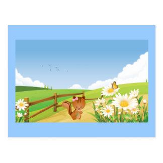 Squirrel Summer Blue Sky Nature Happy Flower Cute Postcard