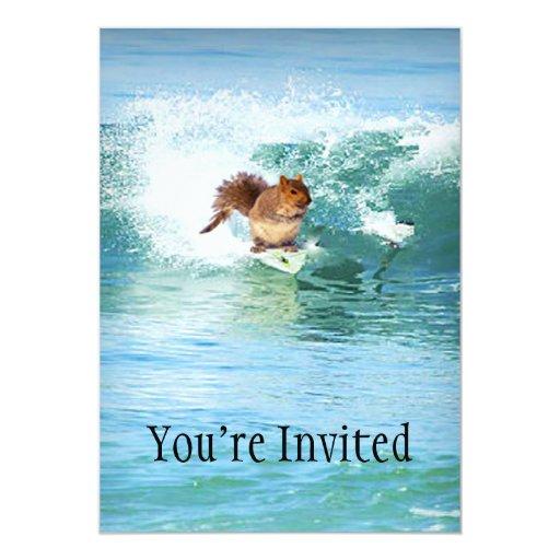 Squirrel Surfer On The Sea 5x7 Paper Invitation Card