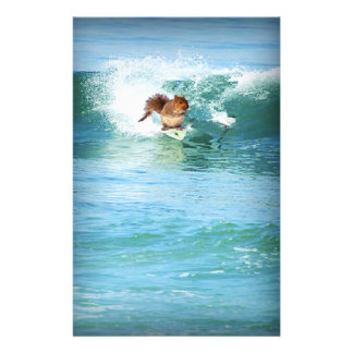 Squirrel Surfer On The Sea Stationery