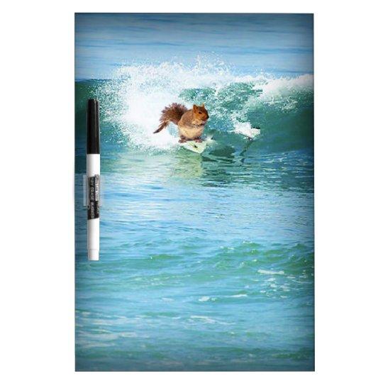 Squirrel Surfing The Ocean Dry Erase Board