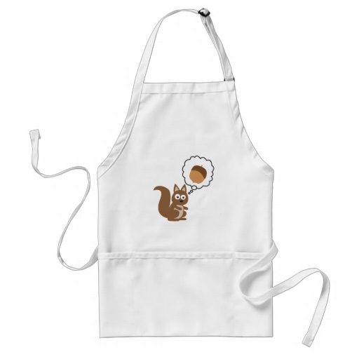 Squirrel Thinking About Nut Adult Apron