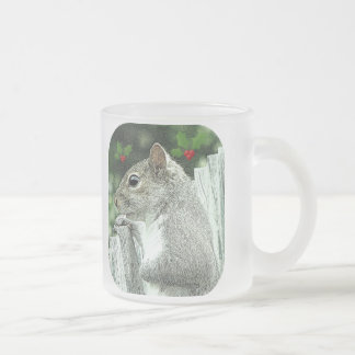 Squirrel Tidings Frosted Glass Coffee Mug