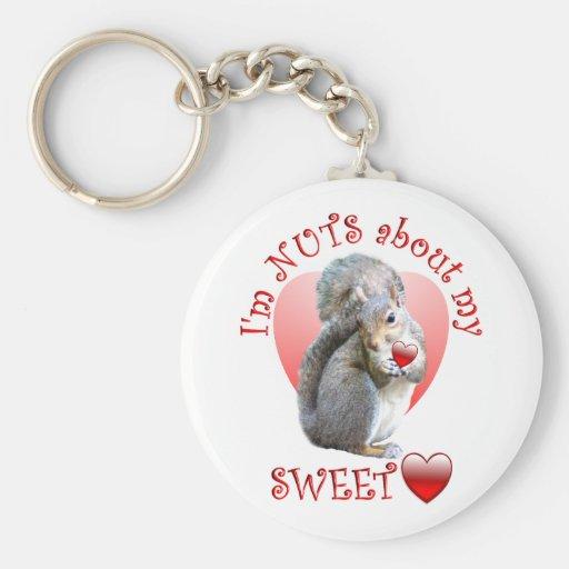 Squirrel Valentine Basic Round Button Keychain
