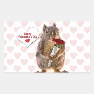 Squirrel Valentine Rectangle Sticker