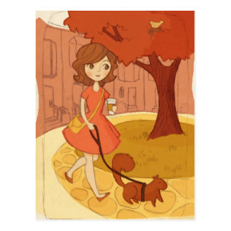 Squirrel Walking in the Fall Postcard
