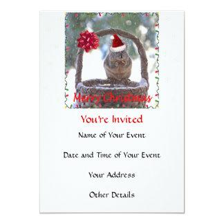 Squirrel Wearing Santa Hat 5x7 Paper Invitation Card
