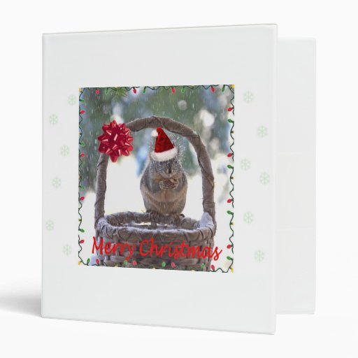 Squirrel Wearing Santa Hat Binders