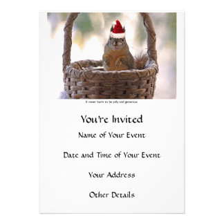 Squirrel Wearing Santa Hat Personalized Announcements