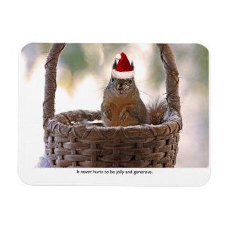 Squirrel Wearing Santa Hat Magnet