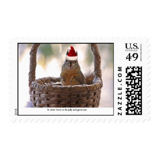 Squirrel Wearing Santa Hat Postage