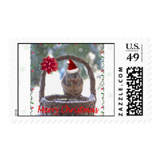 Squirrel Wearing Santa Hat Stamp