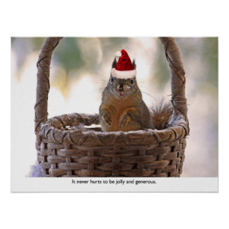 Squirrel Wearing Santa Hat Poster