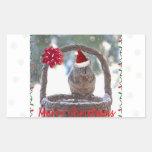 Squirrel Wearing Santa Hat Rectangle Stickers
