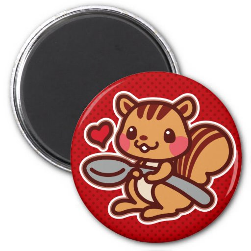 Squirrel with a spoon 2 inch round magnet
