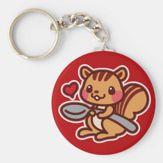 Squirrel with a spoon basic round button keychain