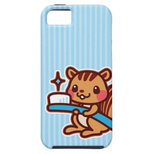 Squirrel with a toothbrush iPhone 5 cases