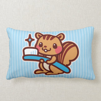 Squirrel with a toothbrush lumbar pillow