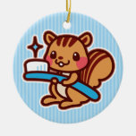 Squirrel with a toothbrush christmas tree ornaments