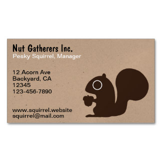 Squirrel with Acorn Business Card Magnet