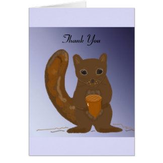 Squirrel with Acorn Thank You Stationery Note Card
