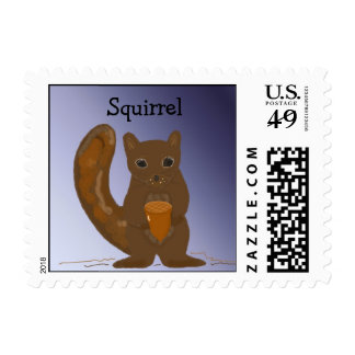 Squirrel With An Acorn Stamp
